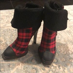 GX by Gwen STefani red and black plaid booties